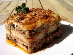 This is the traditional moussaka recipe, made with lightly fried eggplants, minced meat and white sauce. Try it, don't be...