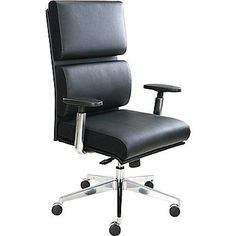 Tempur-Pedic Leather Computer and Desk Office Chair, Black, Fixed Arm (TP1000-BLACK) | Staples