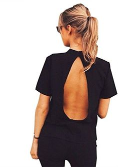 Happyear Womens Summer Sexy Open Back Short Sleeve Tshirt Black -- Check out this great product.Note:It is affiliate link to Amazon.