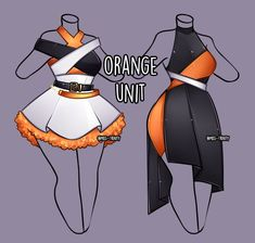 Orange Unit outfit adopt [close] by Miss-Trinity on DeviantArt Manga Clothes, Drawing Anime Clothes, Dress Drawing, How To Draw Clothes, Anime Outfits, Cool Outfits, Female Outfits, Fashion Design Drawings, Fashion Sketches