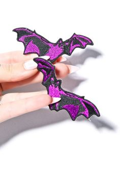 Purple Bat Patches Pair Of 2 NEW Rockabilly Jacket Embroidered Patches Goth Punk #HollywoodMirror