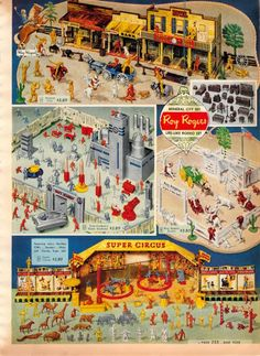 Vintage Roy Rogers Super Circus Playsets from a 1955 Spiegel catalog Christmas Catalogs, Christmas Books, Vintage Christmas, Christmas Time, 1950s Toys, Retro Toys, Vintage Advertisements, Vintage Ads, Vintage Paper