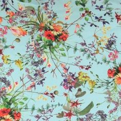 per FQ or half metre for dressmaking Salvia grey floral 100/% cotton fabric