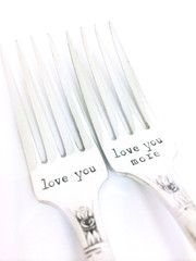 """An easy gift for any couple! Vintage sterling silver plated silverware is hand stamped with""""Love You"""" and """"Love You More"""". * The style of flatware varies but a"""