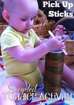 Pick up Sticks a recycled toddler activity. Pinned to #CreativeKids #Play Ideas board.