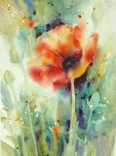 Poppy Garden by Yvonne Joyner Watercolor ~ x