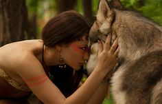 a girl and her wolf