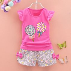 Baby Girl Summer Clothes 2018 Korean Short Sleeved T-shirt Tops + Floral Shorts Baby Girl Outfits Kids Bebes Jogging Suits Girls Summer Outfits, Little Girl Outfits, Summer Girls, Baby Boy Outfits, Kids Outfits, Summer Clothes, Korean Outfits, Summer Tops, Baby Girl Fashion