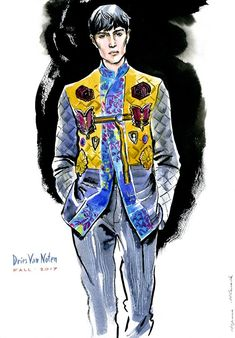 fashion illustration by Irina Ivanova: Dries Van Noten fall 2016 READY-TO-WEAR for men collection. #runway #DriesVanNoten #fashionillustration #illustration #fashionsketch #sketch #fashion #model #figure #365sketches #drawing #ink #watercolor #accessory #fashionshow #shoes #clothes #dress #Couture #fashionweek #fashionillustrator #наброски #мода #artwork #artworkforsale