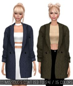 Simpliciaty: M1SSDUO'S COAT converted form TS3 to TS4 • Sims 4 Downloads