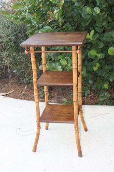 Vintage Wood and Rattan 3 Tier Table/Small Rattan Table/Square Wooden Side Table by DebiLynneVintage on Etsy