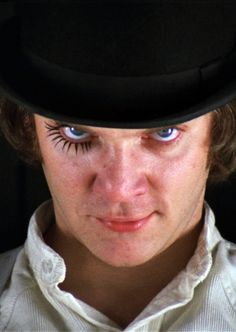 "vintagegal: "" A Clockwork Orange (1971) ""There was me, that is Alex, and my three droogs, that is Pete, Georgie, and Dim, and we sat in the Korova Milkbar trying to make up our rassoodocks what to do with the evening. The Korova milkbar sold..."