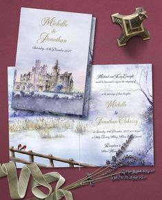 This painted invitation of Adare Manor at dusk is definitely on of our favourite bespoke winter wedding invitations. Adare Manor - Hand painted and designed by Ailbhe Cronin at Appleberry Press Couture Wedding Invitations, Winter Wedding Invitations, Adare Manor, Letterpress Invitations, Personalized Stationery, Dusk, Bespoke, Custom Design, Hand Painted
