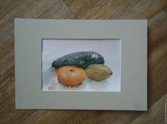"""Купить Акварель """"Сочные фрукты"""" - рыжий, натюрморт, натюрморт для кухни, натюрморт с фруктами, натюрморт акварелью"""