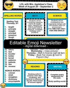 Meet The Teacher Newsletter Editable Emoji Back To School Forms