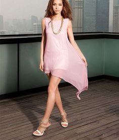 High Low Chiffon Shift Dress