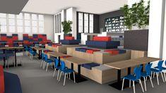 Inrichtingsconcept voor het voortgezet onderwijs. Vooraan staan de blauwe Match stoelen samen met kolomvoet tafels. Er is een verhoging gebouwd voor een dynamische werkruimte. Deze is verzacht met zitkussens speciaal voor verhogingen.