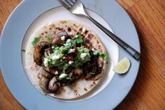 Mushroom Tacos with Tomatillo-Chipotle Sauce #TacoTuesday