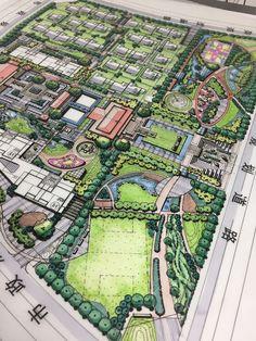 Landscape Architecture Drawing, Landscape Model, Landscape Design Plans, Landscape Sketch, Landscape Concept, Landscape Drawings, Architecture Plan, Urban Landscape, Layout