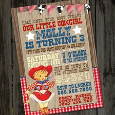 Round-Up your little Buckaroos! This Little Cowgirl or Cowboy Party Birthday Invitation has a fun, rustic, vintage, western feel in red, blue and