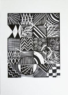 linoprint experimental by Kim Osborne