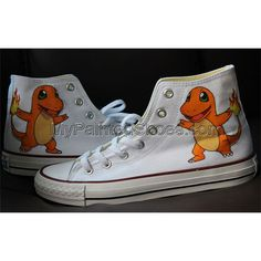 Charmander High-top Painted Canvas Shoes Painted Canvas Shoes, Hand Painted Shoes, Batman Converse, Design Your Own Shoes, Charmander, Paint Designs, On Shoes, Bunt, Converse Chuck Taylor