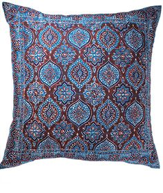 Blue/red azrak blockprint large cushion cover, 60 x 60cm