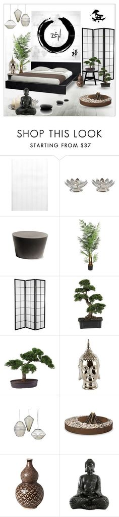 """Zen Bedroom"" by szaboesz ? liked on Polyvore featuring interior, interiors, interior design, home, home decor, interior decorating, Brewster Home Fashions, Laura Ashley, Nearly Natural and Jayson Hom"
