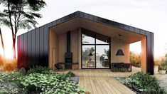 Design Exterior, Modern Exterior, Casas Containers, Shed Homes, Forest House, Modern Barn, House In The Woods, Black House, Modern Architecture