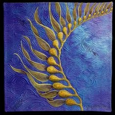 """""""Seaweed"""" by quilt artist Judy Coates Perez - Hand dyed silk painted with textile paints, machine quilted"""