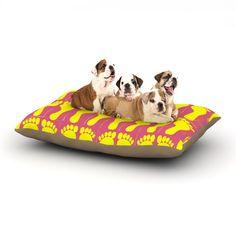 "Sreetama Ray ""Footprints Yellow"" Pink Illustration Dog Bed"