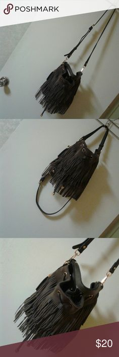 Moda Luxe Gray Suede Fringe Bucket Bag Can Be Used As Crossbody/ Zip Pocket Inside/Clean Inside/Great Condition! Moda Luxe Bags