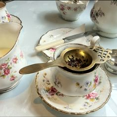 Tea in Totnes-(vintage tea rooms fore st) how lovely is that strainer?