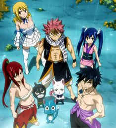 Lucy, Natsu, Wendy, Erza, Pantherlily, Happy, Carla (or Charle), and Gray