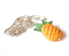 Pineapple Necklace Fun Jewelry  polymer clay by InspirationsByNell, $7.50