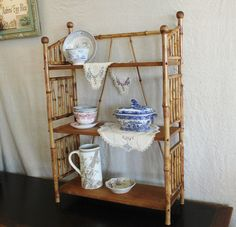 Antique Victorian Bamboo Cane Wood 3 Tier by robinseggbleunest