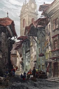 1870 after Street Scene in AARAU Argau Switzerland - handcolored wood engraving