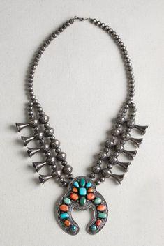 Navajo Artist Robert Bird:  Handmade Multi-Stone Squash Blossom Necklace   Silver Eagle Gallery