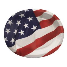 Flag Celebration Oval Paper Platters 10in x 12in 8ct