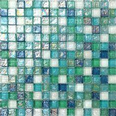Glas Mosaik Fliesen Matte in Grün, Blau, Weiß und mit violettem Perlmutt…