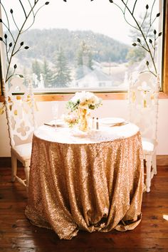 glittery sweetheart table // photo by Tess Pace // http://ruffledblog.com/glam-romance-colorado-wedding