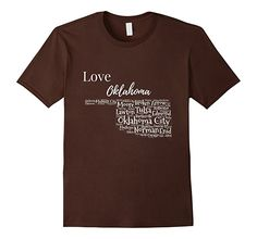 Men's Love Oklahoma With Cities T-Shirt 2XL Brown