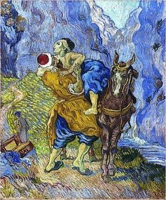 Vincent van Gogh (Dutch, Post-Impressionism, 1853-1890): The good Samaritan (after Delacroix), De barmhartige Samaritaan (naar Delacroix); 1890. Oil on canvas, 73.0 x 60.0 cm. Kröller-Müller Museum, Otterlo, Netherlands.