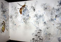 Wall Drawings - Evy Jokhova A Counter Productive Society. 2009 Wall drawing in pencil, ink, acrylic and gloss vinyl paint, installed with a skep made out of jute rope, resin and dead bees, 280 x 350 x 280cm