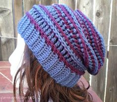 Free crochet hat pattern - the Harper Slouch by Acquanetta Ferguson KB Had to play with the top closure a bit. Crochet Adult Hat, Bonnet Crochet, Crochet Beanie Hat, Crochet Cap, Cute Crochet, Crochet Scarves, Crochet Crafts, Crochet Clothes, Crochet Hooks