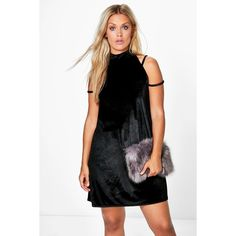 Boohoo Plus Plus Tilly High Neck Strappy Velvet Swing Dress (€27) ❤ liked on Polyvore featuring dresses, black, maxi dresses, cocktail maxi dresses, sequin bodycon dress, party dresses and bodycon maxi dress