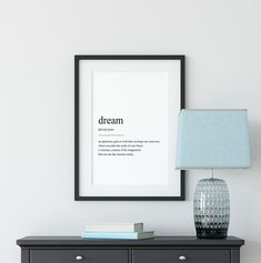 Dream Definition Print Quote Print Definition Print Dream Quote Prints, Wall Art Prints, Dream Definition, Printing Services, Online Printing, Pink Wall Art, Black And White Wall Art, Hanging Frames, International Paper Sizes