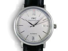 IWC Portofino 40MM Watch, Fashioned in Stainless Steel, Featuring a Silver Dial, Black Alligator Strap and Automatic Movement