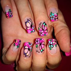 Lunes! 😎  #nails_quilla #clientefeliz #satisfecha #colors #hermosas #lindas #bylorenaortega @unasalocolombiano Butterfly Nail Art, Flower Nail Art, Cute Nail Art, Beautiful Nail Art, Pedicure Nail Art, Funky Nails, Finger, Feet Nails, Cute Nail Designs
