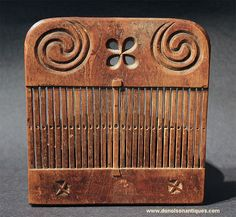Beautifully carved early tape loom. Ca. 18th to early 19th century.  Probably ash wood.  ...~♥~